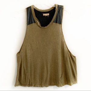 Silence + Noise Olive Faux Leather Racerback Tank